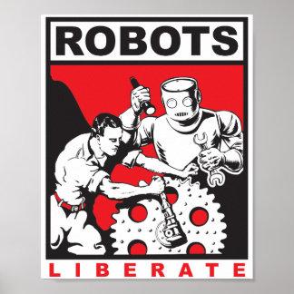 Póster Los robots liberan a seres humanos