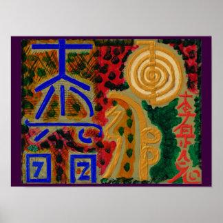 Póster Los símbolos del amo curativo de REIKI Karuna