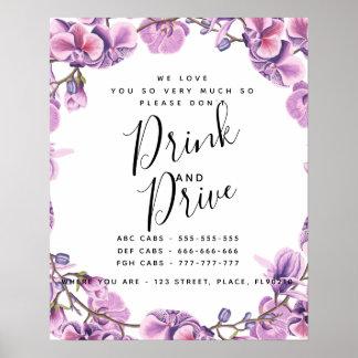 Póster los taxis púrpuras del fiesta no beben y no