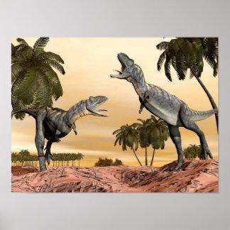 Póster Lucha de los dinosaurios del Aucasaurus - 3D