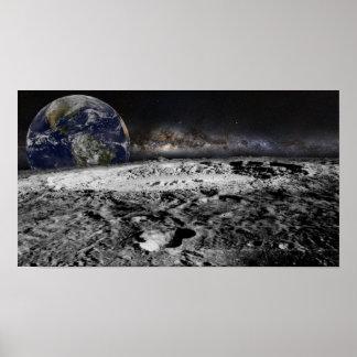Póster Luna con tierra