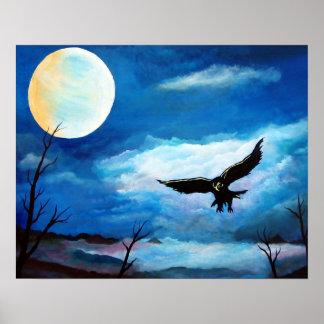 Póster Luna de la noche del halcón de la caza