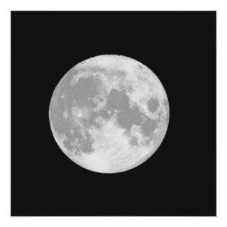 Póster Luna Llena hermosa en negro