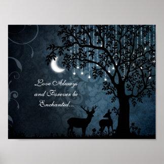 Póster Luna, luces, árbol y ciervos siempre encantados