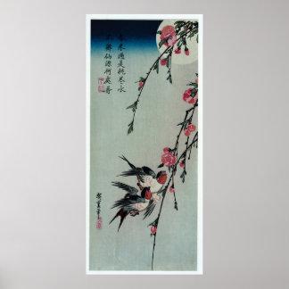 Póster Luna, tragos, y flores del melocotón por Hiroshige