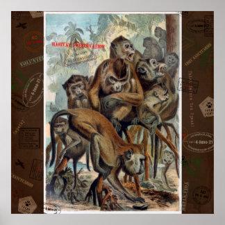 Póster Macaques para el viaje responsable