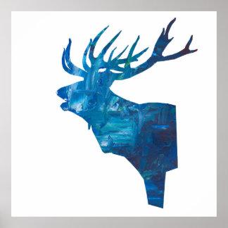 Póster macho principal de los ciervos en azul