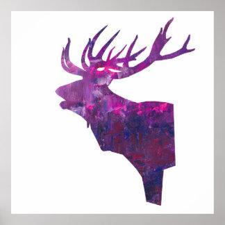 Póster macho principal de los ciervos en lila rosada