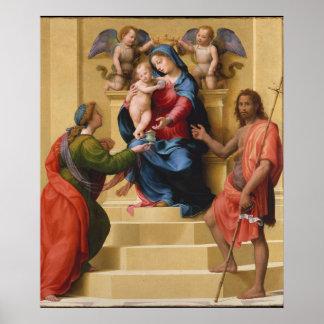 Póster Madonna y niño Enthroned con Santa María