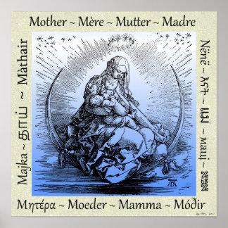 Póster Madre y niño de Albrecht Dürer en la luna