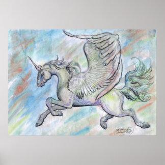 Póster Magia coa alas de la fantasía del vuelo del vuelo