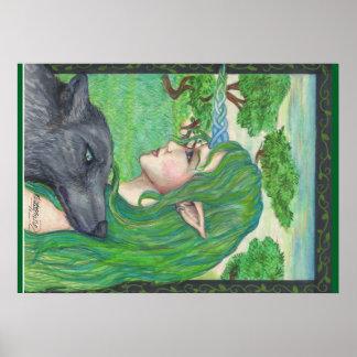 Póster Magia de hadas de la fantasía del duende del lobo