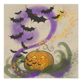 Póster Magia de Halloween - Jack-o-linterna, palos, y