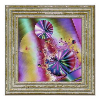 Póster Magia metálica rosada del fractal