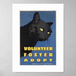Poster mágico de WPA de los gatitos de la ciudad Póster