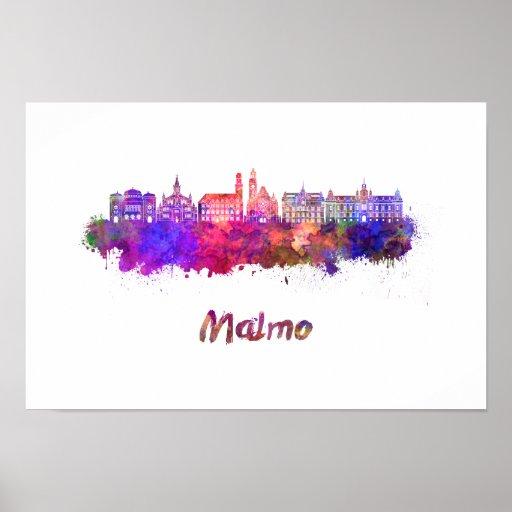 Póster Malmo skyline in watercolor