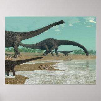 Póster Manada de los dinosaurios del Diplodocus - 3D