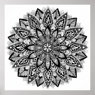 Póster Mandala de la flor blanco y negro