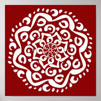 Póster Mandala de la frambuesa
