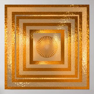 Póster Mandala de oro de Sun - respetos calientes