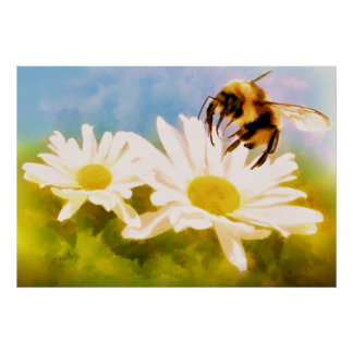 Póster Manosee la abeja en margaritas