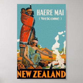 Póster Maorí agradable del AMI de Nueva Zelanda Haere del