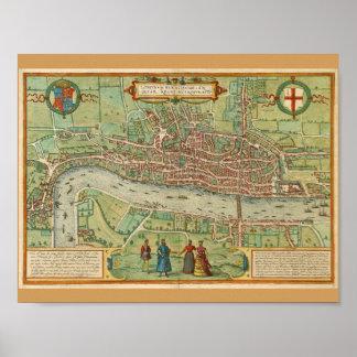 Póster Mapa 1600 de Londres