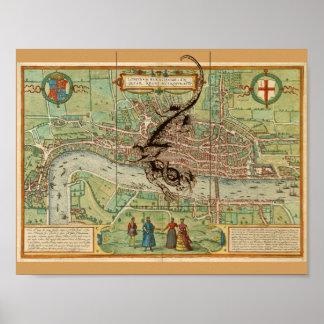 Póster Mapa 1600 de Londres con el dragón