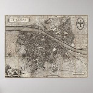 Póster Mapa 1847 de bolsillo de Molini de Florencia Itali
