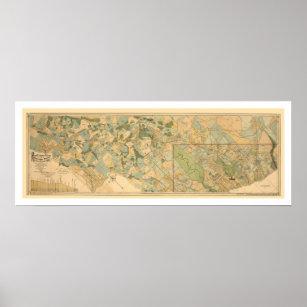 Póster Mapa 1890 del ferrocarril de Baltimore y de Ohio