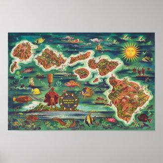 Póster Mapa 1950 de Dole de la pintura de aceite de