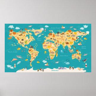 Póster Mapa animal del mundo para los niños