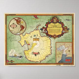 Póster Mapa antártico de la expedición