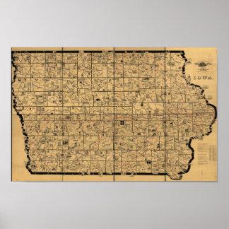 Póster Mapa antiguo 1897 de las rutas de la entrega del