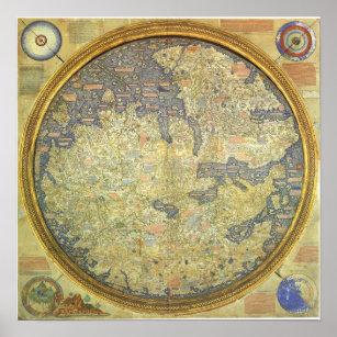 Póster Mapa antiguo Asia África Europa del Fra Mauro