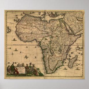 Póster Mapa antiguo de África 1680 de Frederick De Wit