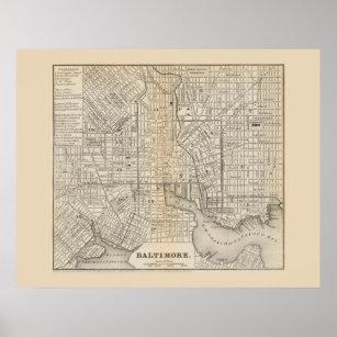 Póster Mapa antiguo de Baltimore Maryland 1866