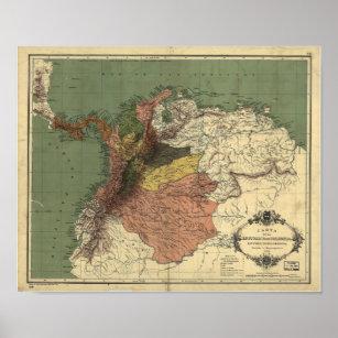 Póster Mapa antiguo de Colombia - Panamá 1886