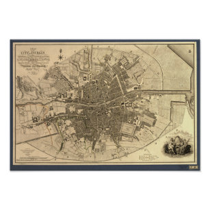 Póster Mapa antiguo de Dublín Irlanda, 1797