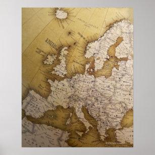 Póster Mapa antiguo de Europa. Mundo viejo
