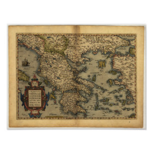 Póster Mapa antiguo del ATLAS 1570 A.D. de Grecia