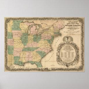 Póster Mapa antiguo del carril 1858 de los Estados Unidos