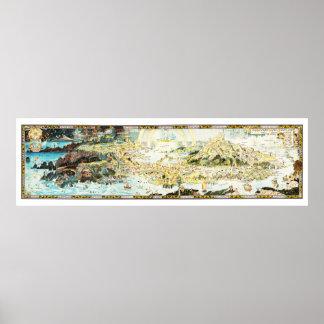 Póster Mapa antiguo del Fairyland por el trineo de
