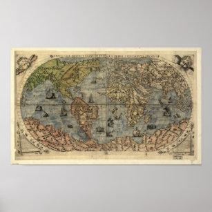 Póster Mapa antiguo del mundo 1565