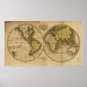 Póster Mapa antiguo del mundo - 1795