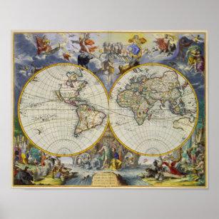 Póster Mapa antiguo del mundo en dos hemisferios 1683