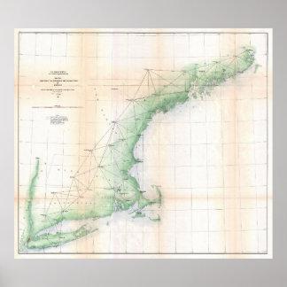 Póster Mapa costero de Nueva Inglaterra (1864) - TXT