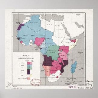 Póster Mapa de África, divisiones administrativas (1957)