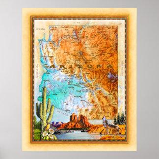 "Póster ""Mapa de Arizona """