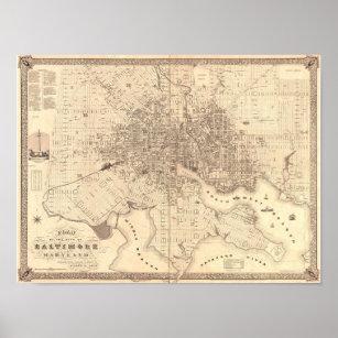 Póster Mapa de Baltimore 1851